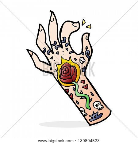 cartoon tattoo hand