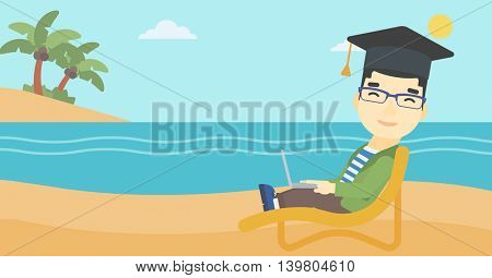 An asian happy graduate lying in chaise long. Young man in graduation cap working on laptop. Graduate on a beach. Vector flat design illustration. Horizontal layout.