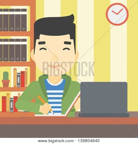 An asian young student sitting at the desk with laptop. Student using laptop at home and writing notes. Student working on laptop. Vector flat design illustration. Square layout.