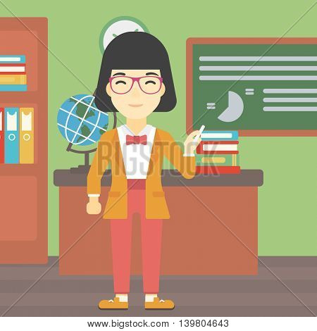 An asian young teacher standing in classroom. Teacher standing in front of the blackboard. Teacher with a piece of chalk in her hand. Vector flat design illustration. Square layout.