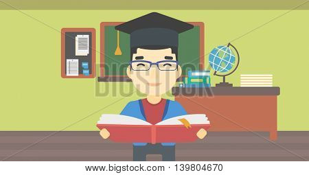 An asian graduate in graduation cap with an open book in hands. Young man reading book on the background of classroom. Vector flat design illustration. Horizontal layout.