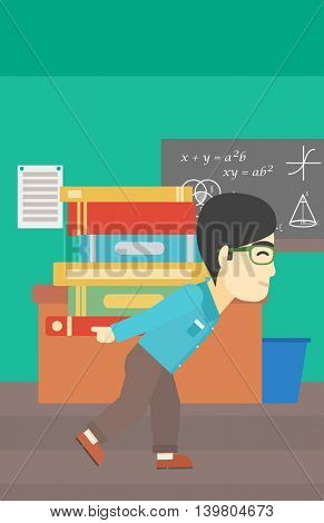 An asian tired student carrying a heavy pile of books on his back. Student with pile of books in the classroom. Student with many books. Vector flat design illustration. Vertical layout.