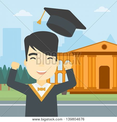 An asian excited graduate in cloak and graduation hat. Graduate throwing up his hat. Graduate celebrating on a background of educational building. Vector flat design illustration. Square layout.