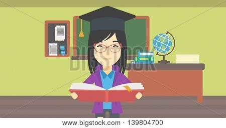 An asian graduate in graduation cap with an open book in hands. Young woman reading book on the background of classroom. Vector flat design illustration. Horizontal layout.