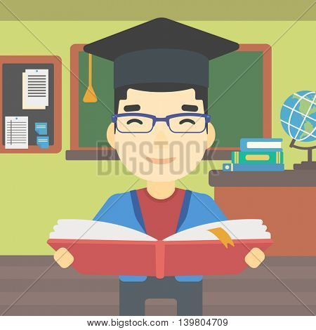 An asian graduate in graduation cap with an open book in hands. Young man reading book on the background of classroom. Vector flat design illustration. Square layout.