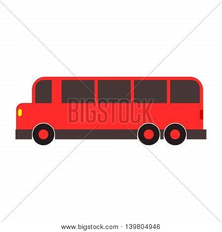 Vintage retro red bus toy vector. Simple isolated illustration in childish cartoon style.