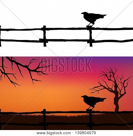 Halloween vector background with spooky raven bird fence and bare twisted tree branches silhouette