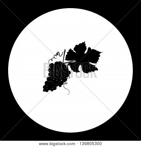 Black Grapes And Leaf Isolated Icon Eps10