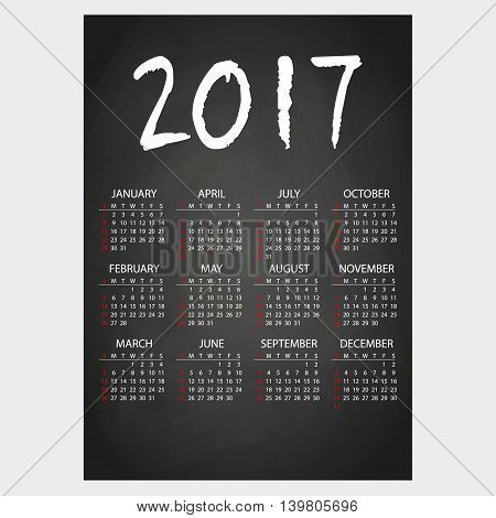 2017 Wall Calendar Black Blackboard With White Chalk Text Eps10