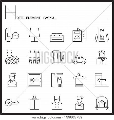 Hotel Element Line Icon Set 3.Mono pack.Graphic vector logo set.Pictogram design.