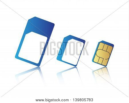Mobile phone sim card set standard micro and nano sim card vector illustration