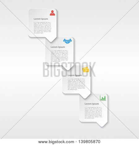 four steps sequence infographic layout concept white paper style vector illustration
