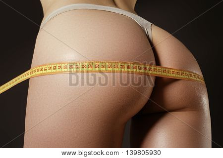 Healthy Lifestyles Concept. Woman Body Part Is Being Measured. S