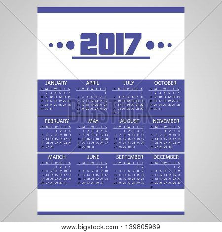 2017 Simple Business Blue Wall Calendar With White Eps10