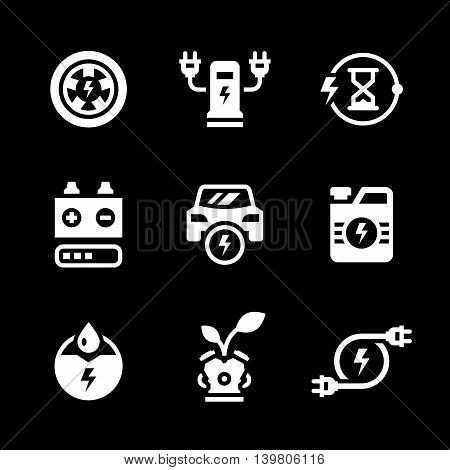 Set icons of electric car isolated on black. Vector illustration