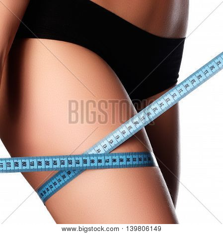 Woman Measuring Perfect Shape Of Beautiful Hips. Healthy Lifesty
