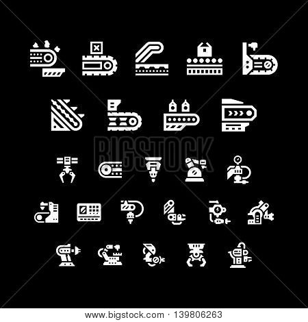 Set icons of conveyor and robotic industry isolated on black. Vector illustration