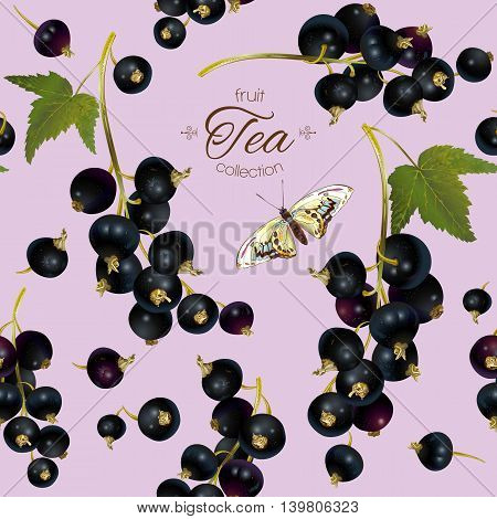 Vector black currant tea seamless pattern. Background design for tea, ice cream, natural cosmetics, candy and bakery with black currant filling, health care products. Best for textile, wrapping paper.