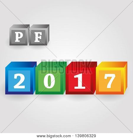 Happy New Year 2017 From Red Green Blue And Yellow Bricks With Numbers Eps10