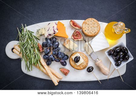 Cheese Selection On Marble Board