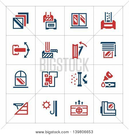 Set color icons of modern window isolated on white. Vector illustration