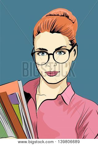 Student girl with the books. Vector illustration.