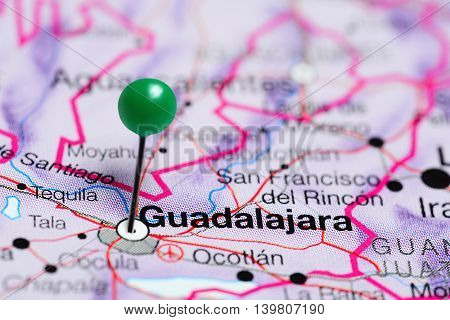 Guadalajara pinned on a map of Mexico