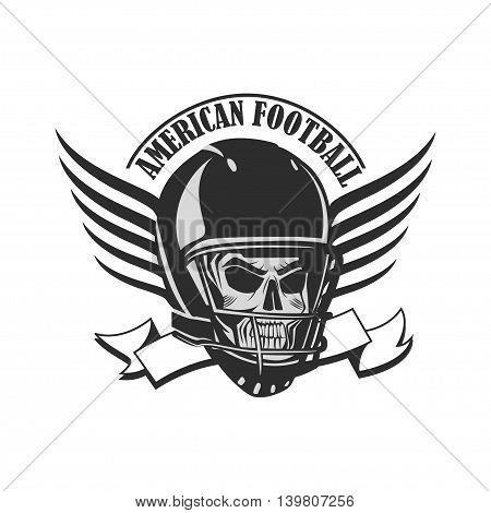 Skull in a helmet to play American football.