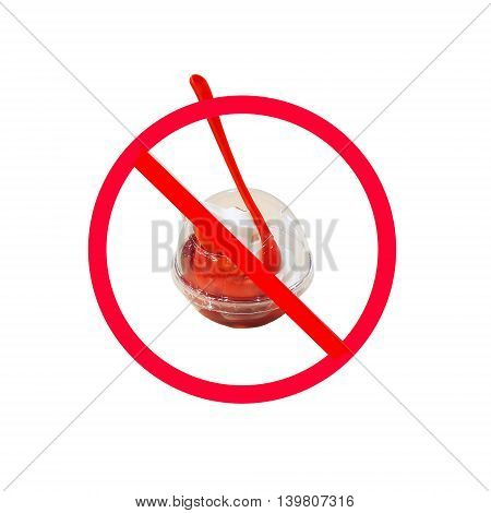 The red circle with slash on ice cream isolated on white background ; Concept for food and sugar dieting to lose weight.