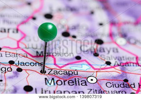 Zacapu pinned on a map of Mexico