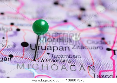 La Huacana pinned on a map of Mexico