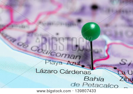 Lazaro Cardenas pinned on a map of Mexico