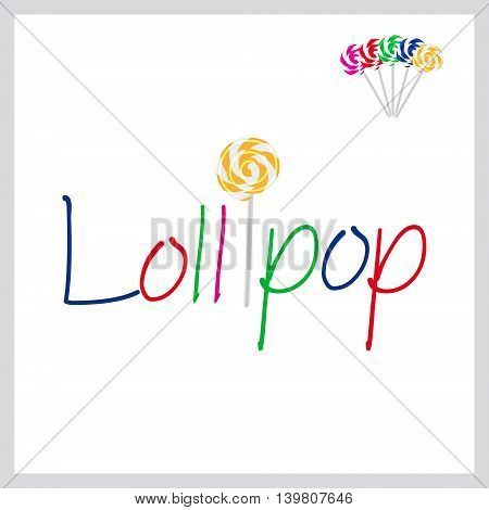 Text Lollipop With Sweet Yellow Lollipop And Other Color For Change Eps10