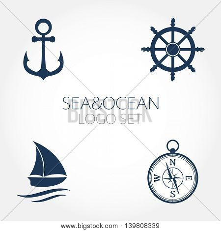 Set of nautical logos, icons ans symbols. Wheel, amchor, compass and ocean boat or yacht set