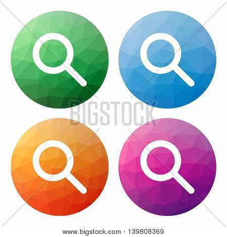 Set  Of 4 Isolated Modern Low Polygonal Buttons - Icons - For Search Or Zoom