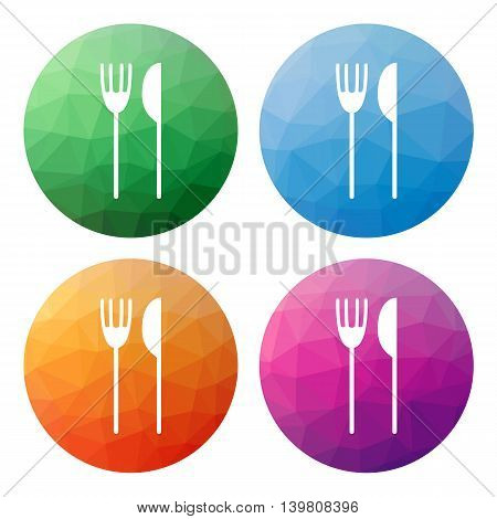 Set  Of 4 Isolated Modern Low Polygonal Buttons - Icons - For Fork And Knife