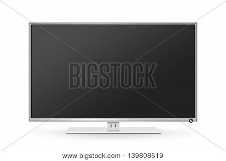 TV flat screen lcd plasma realistic 3d illustration. White HD monitor mock up. Modern multimedia panel black screen mockup. Good way show business presentation on flat display mock-up. Tv set stand.
