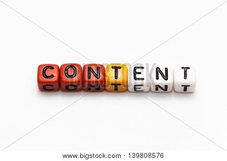 Content Words Arranged In Blocks (shallow Depth Of Field)