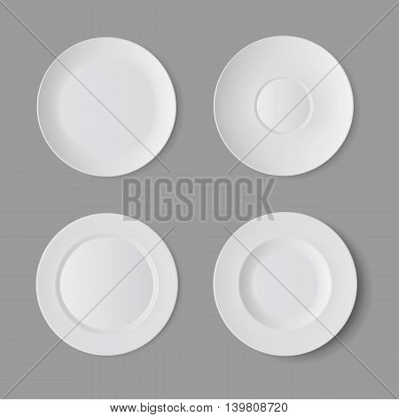 Vector Tableware Set of White Empty Plates Top View Isolated on Background. Table Setting