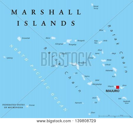 Marshall Islands political map with capital Majuro. Republic and island country near the equator in the Pacific Ocean in Micronesia. English labeling. Illustration.
