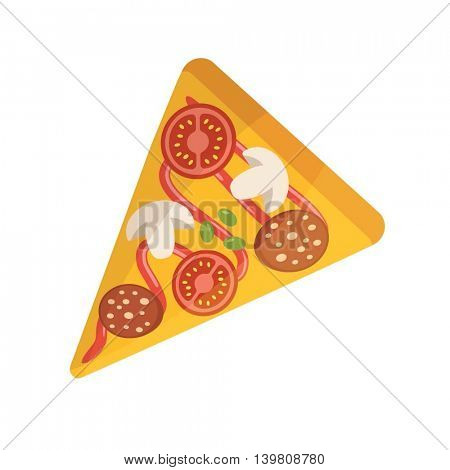 Pizza slice isolated on white background. Vector illustration of pizza with salami, tomato, onion mushrooms and green olives