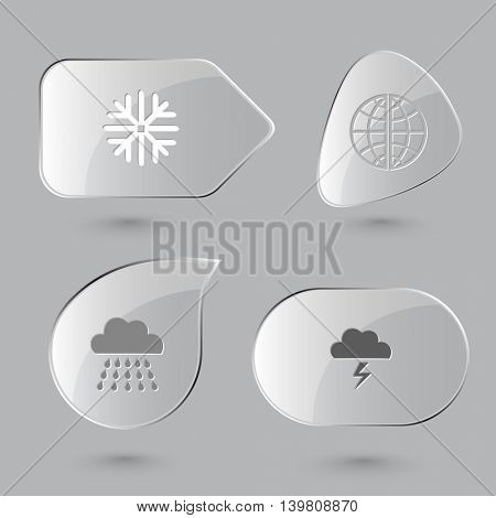 4 images: snowflake, globe, rain, thunderstorm. Weather set. Glass buttons on gray background. Vector icons.