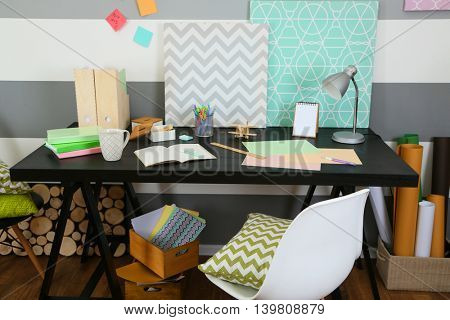 Workplace of creative person indoors
