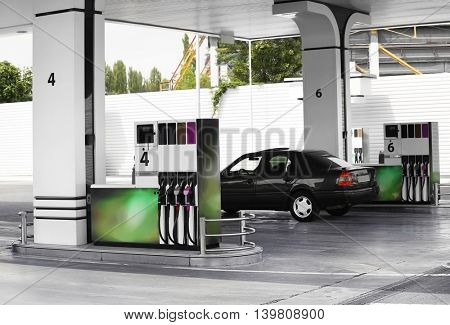 Modern petrol station beside the road