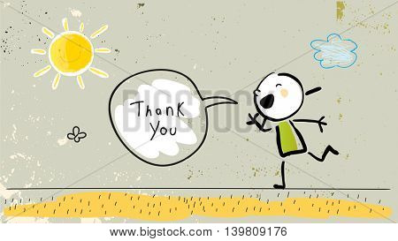 Kids thank you card vector illustration. Child saying thank you in a speech balloon. Sketch, scribble style doodle.