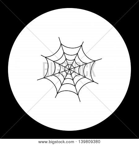 Black Simple Spider Web Isolated Icon Eps10