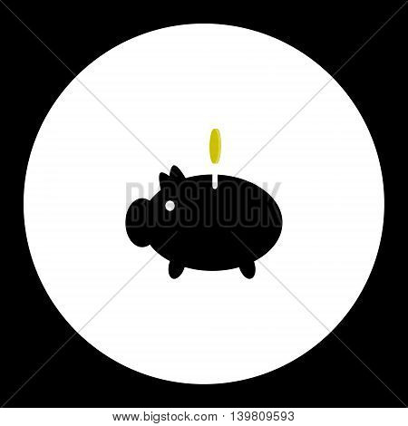 Piggy Money Box With Gold Coin Isolated Black Icon Eps10