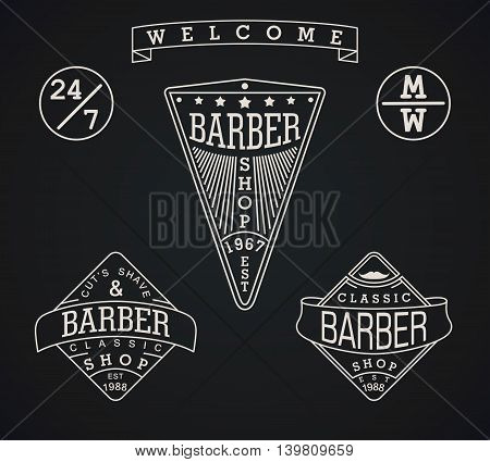 Set vector emblems and elements for Barber Shop in vintage style. Modern linear minimalism. Design for web Logos Stamp Badges Signboard t-shirts uniform and others.