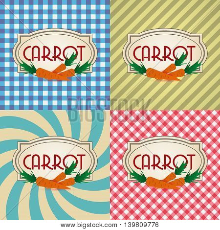 Four Types Of Retro Textured Labels For Carrot Eps10