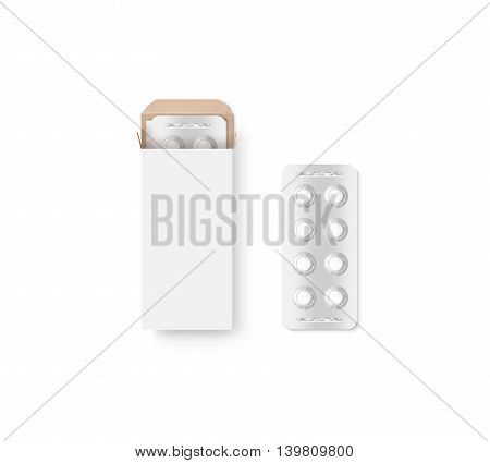 Blank white pill box design mockup set isolated 3d illustration. Clear blister pillbox template mock up. Opened tablets cardboard container. Blister pill boxing with drug capsule branding